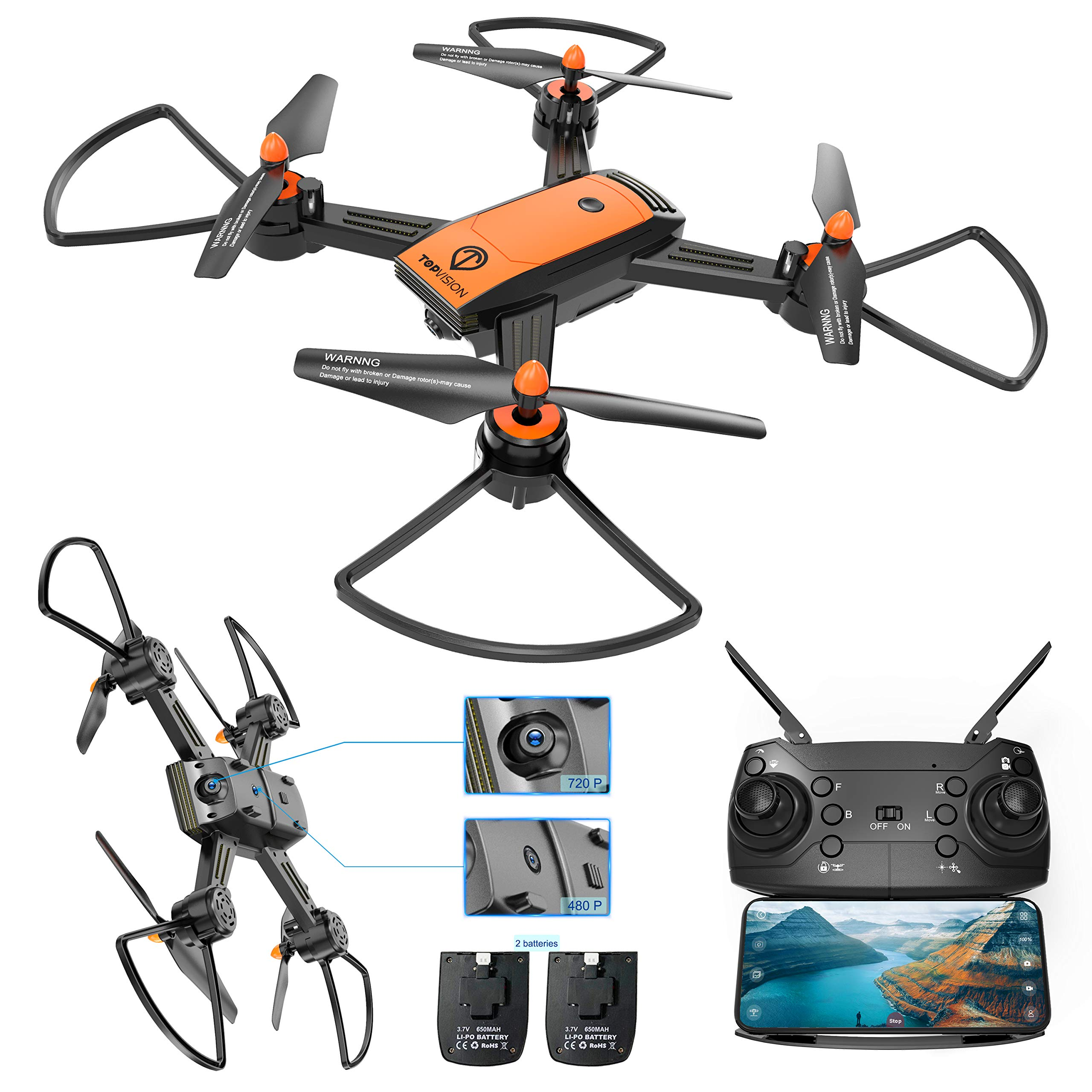 Drone with Camera, TOPVISION WiFi FPV 720P HD Camera & 480P Bottom Camera Wide-Angle Live Video RC Quadcopter with Altitude Hold One Key Take Off/Landing, Compatible w/VR Headset