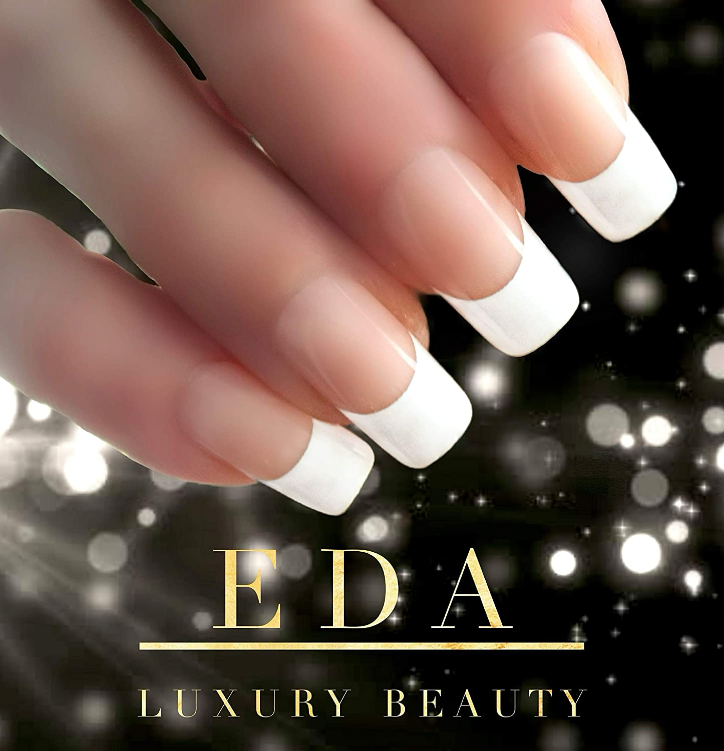 Amazon Com Eda Luxury Beauty Natural Nude Pink White French Design Glamorous Design Full Cover Press On Gel Glitter Artificial Tips Acrylic False Nails Extra Long Ballerina Coffin Square Super Fashion Fake