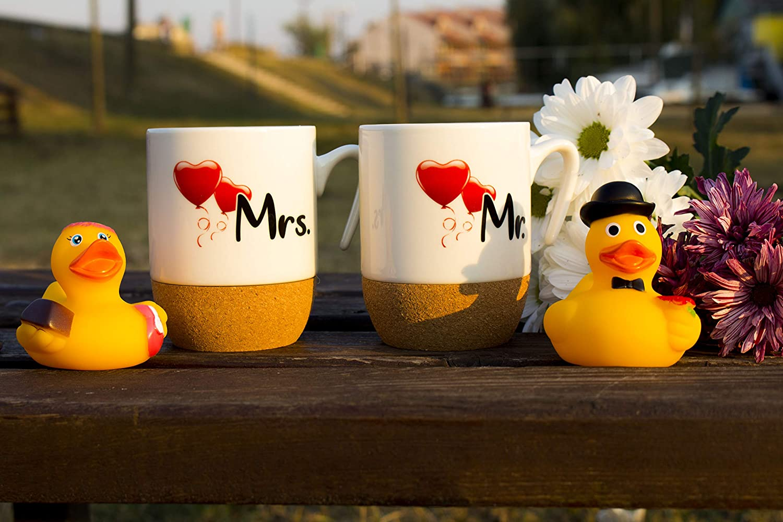 Bath Ducks Coffee Mug Set with cork Bottom Couple I Mr /& Mrs