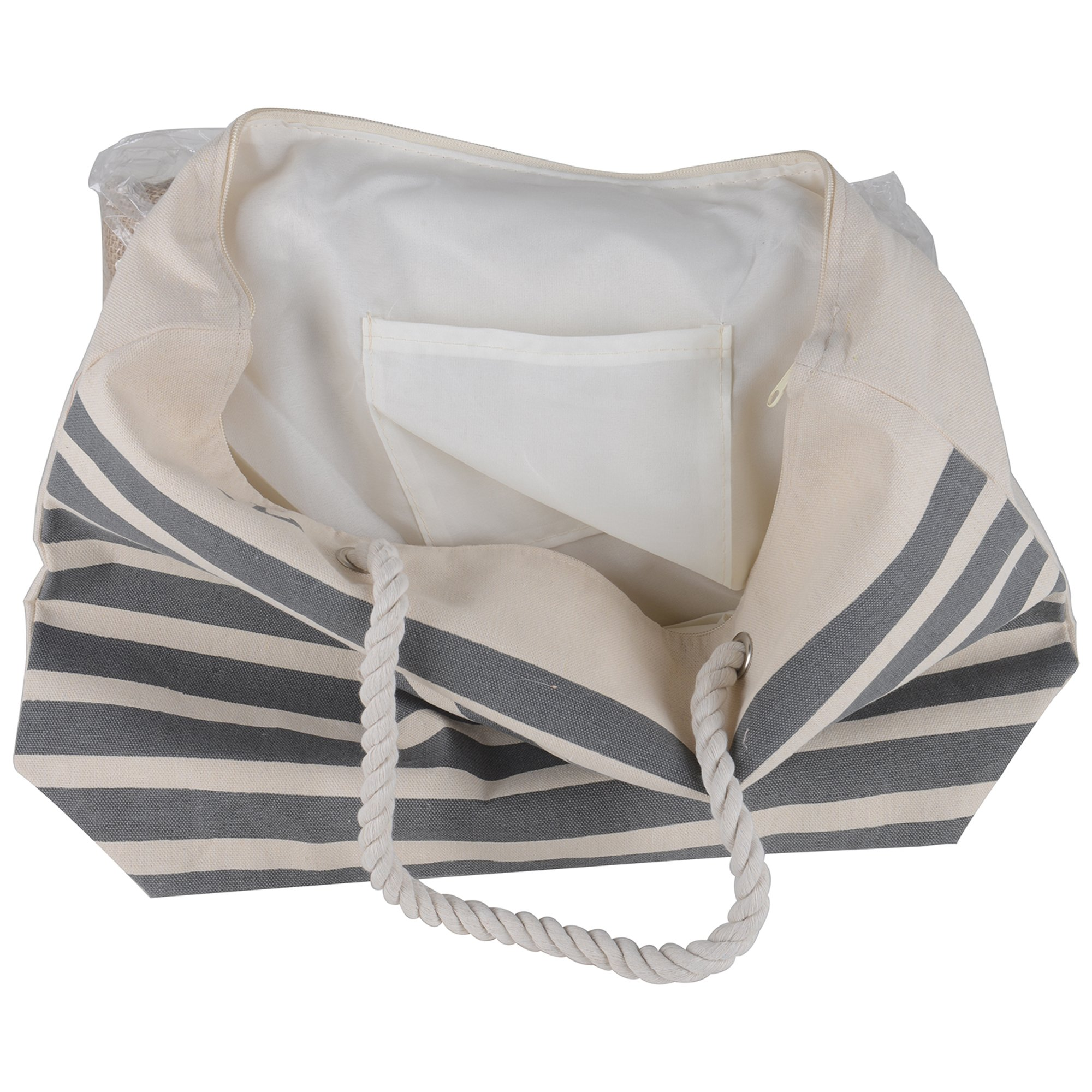 Canvas Heavy Cotton Rope Handles Stripe Zipper Closure Women Premium Straw Beach Tote Bag by BB (Grey) by BB (Image #3)