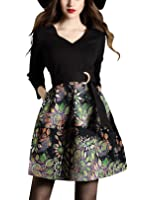 DanMunier Women's V-Neck 3/4 Sleeve Floral Cocktail Party Fit&Flare Wrap Dress With Pocket