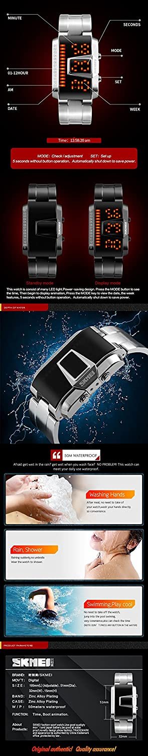 SKMEI 1179 LED Display 50M Waterproof Electronic Watches, Leisure Sports  for Men and Women Watch