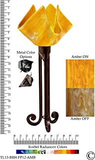 product image for Jezebel Radiance Torch Light. Hardware: Brown with Brown Highlights. Glass: Amber, Flame Style