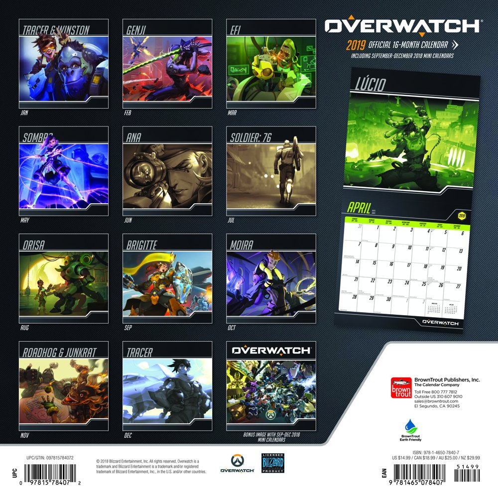 Overwatch Event Calendar.Overwatch 2019 12 X 12 Inch Monthly Square Wall Calendar Video Game