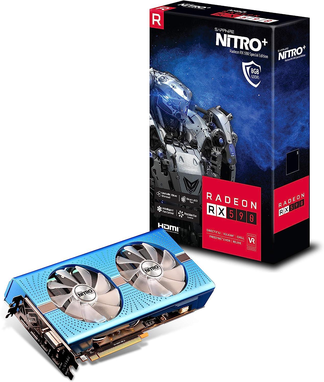 Sapphire Radeon Nitro+ RX 590 8GB GDDR5 Dual HDMI/ DVI-D/ Dual DP OC w/ Backplate Special Edition (UEFI) PCI-E Graphic Cards 11289-01-20G