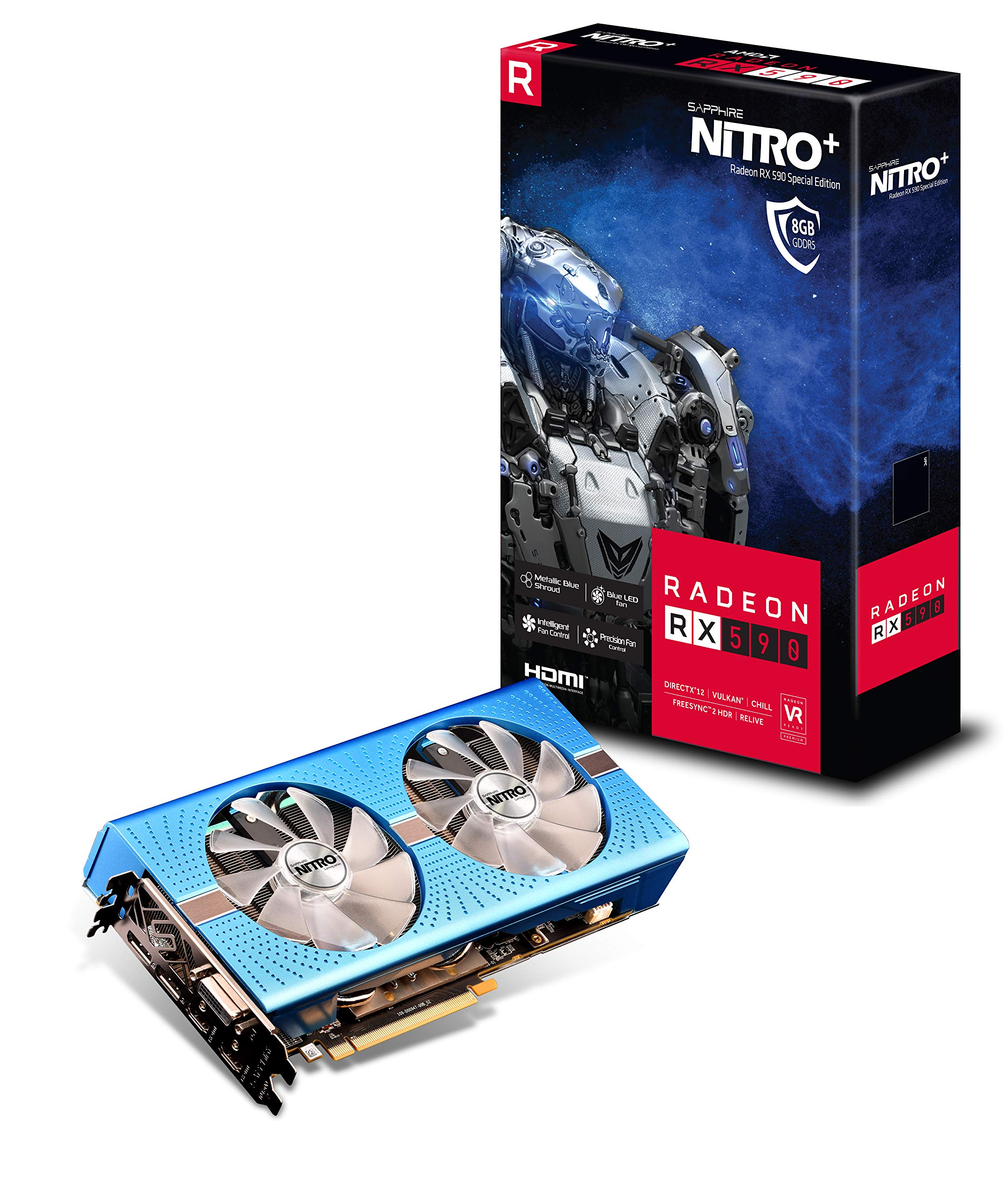 Sapphire Radeon Nitro+ RX 590 8GB GDDR5 Dual HDMI/ DVI-D/ Dual DP OC w/ Backplate Special Edition (UEFI) PCI-E Graphic Cards 11289-01-20G by Sapphire Technology