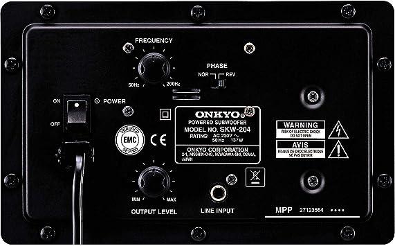 Black Onkyo SKW204 Bass Reflex Powered Subwoofer