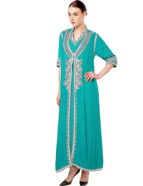 Muslim Dress Dubai Kaftan for Women Half Sleeve Arabic Long Dress ...