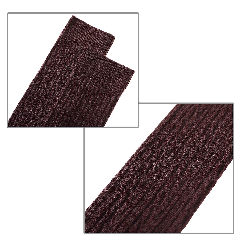 LANLEO 3 Pairs Girls School Uniform Cable Knit Over Knee High Tube Warm Cotton Socks