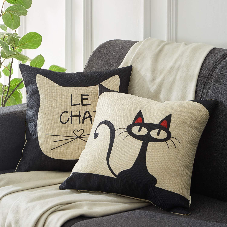 Top finel Hogar 6 Cojines gatos patrón lino algodón fundas almohada ...