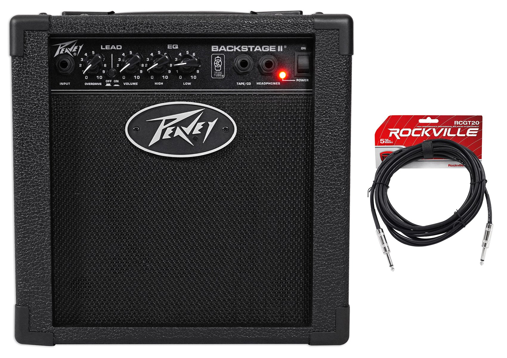 Peavey Backstage 10w Combo Guitar Amplifier+2 Switchable Channels + Guitar Cable by Peavey
