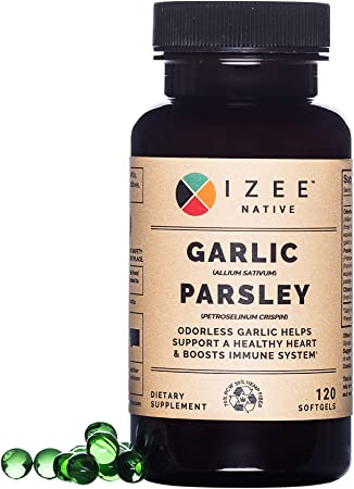 Nutritional Gluten Free Odorless Garlic Parsley Non-GMO Supplement - 1000 mg Garlic and 200 mg Parsley per 2 Soft gels Supports Heart Function and Healthy Immune System - 120 Softgels - 60 Day Supply