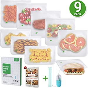 Reusable Storage Bags Food Grade - BPA-Free Extra THICK 9 Pack Baggies | 6 Reusable Sandwich Bags, Silicone Straw Set & 3 Reusable Snack Bags for Kids Lunch Bags, Marinate Food & Freezer Organization