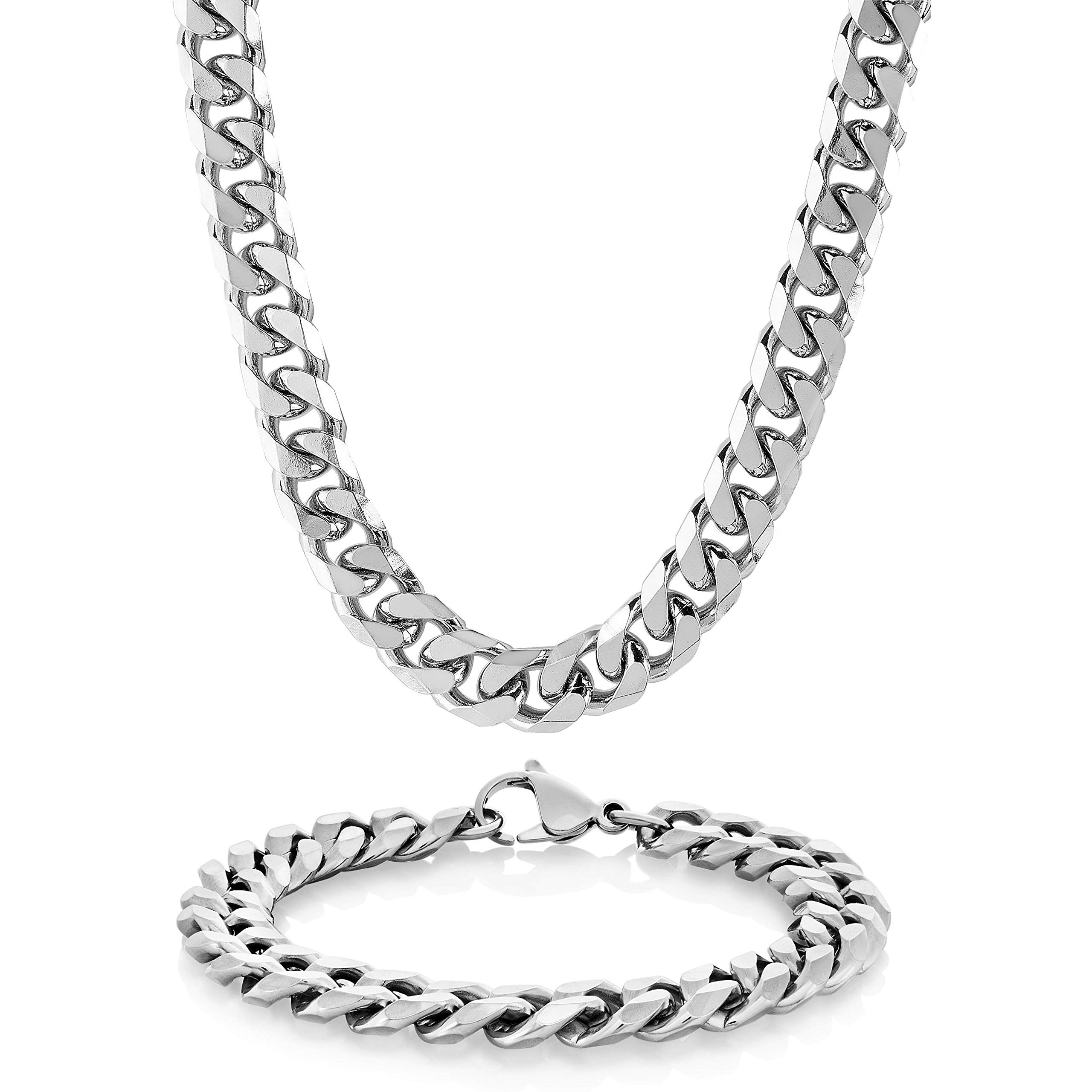 Jstyle Stainless Steel Male Chain Necklace Mens Bracelet Jewelry Set 8.5 inch 22 24 30 inch 8mm Wide
