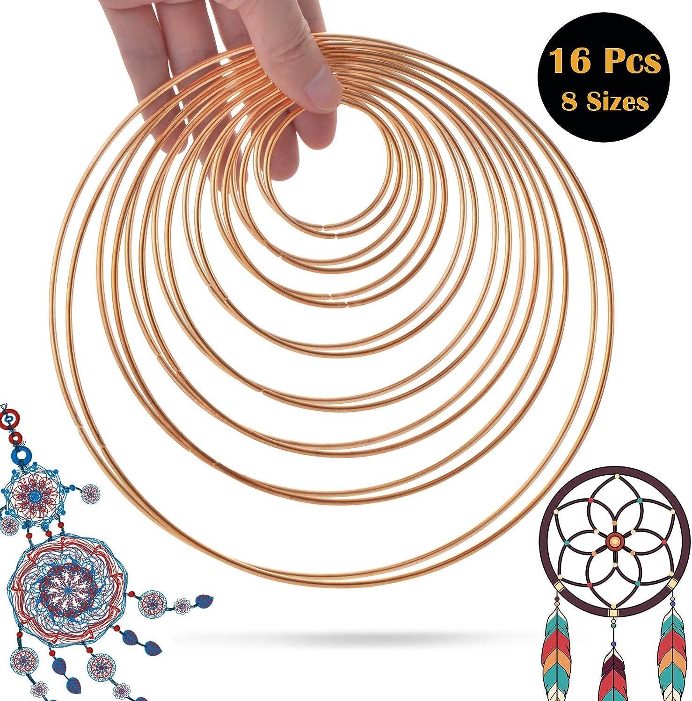 5 cm 6,5 cm 8 cm 10 cm 12 cm 14 cm 16 cm 19 cm Colore Oro SOSMAR 16 Pezzi 8 Misure Anelli in Metallo Metallo Hoops per Fai da Te acchiappasogni Fai da Te