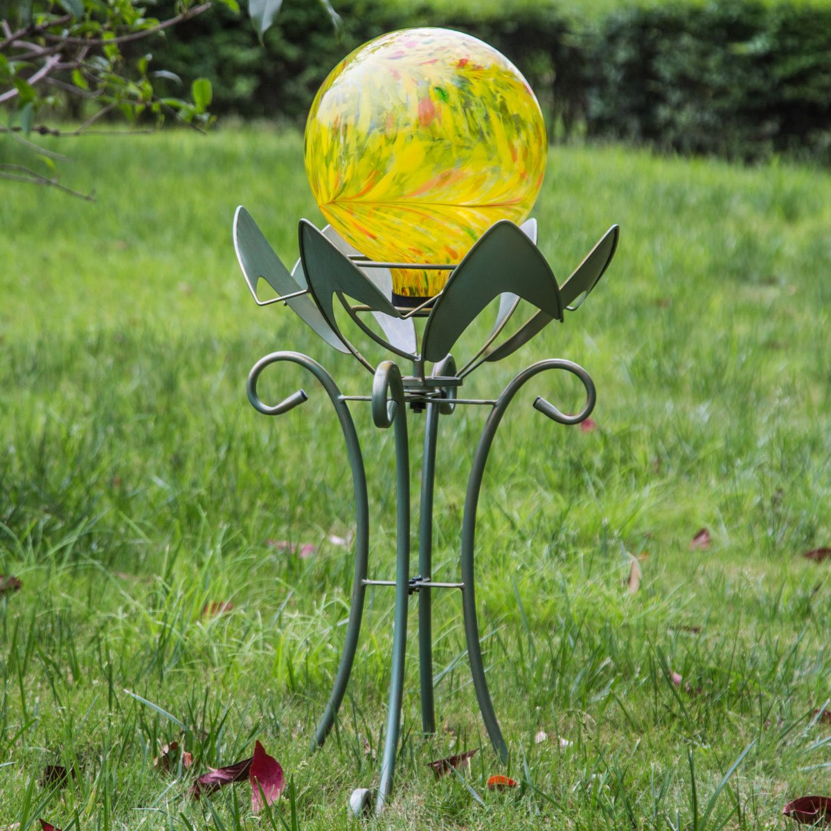 10 inch Yellow Colorful Glass Gazing Ball for Garden