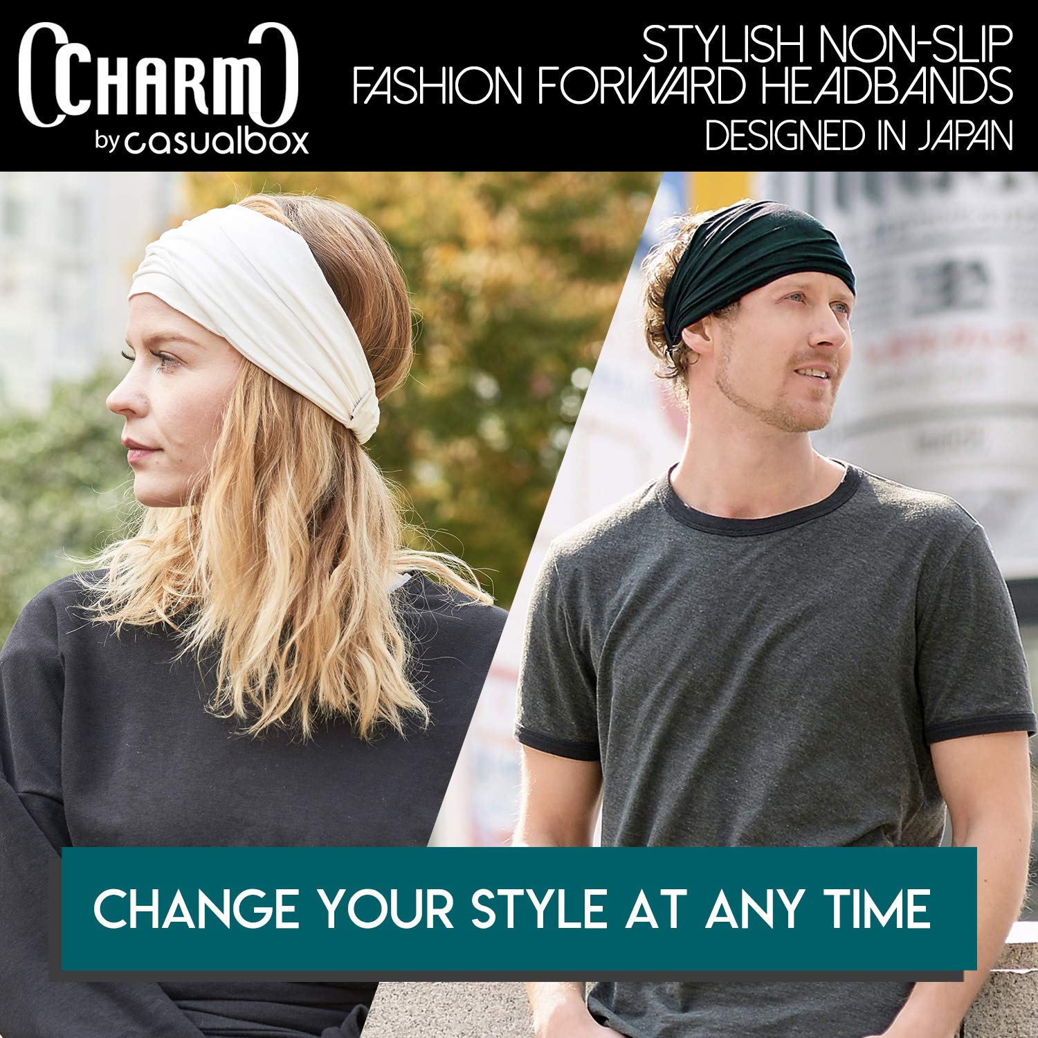 CHARM Black & Navy 2-Pack Japanese Bandana Headbands for Men and Women – Comfortable Head Bands with Elastic Secure Snug Fit Ideal Runners Fitness Sports Football Tennis Stylish Lightweight M by CCHARM (Image #7)