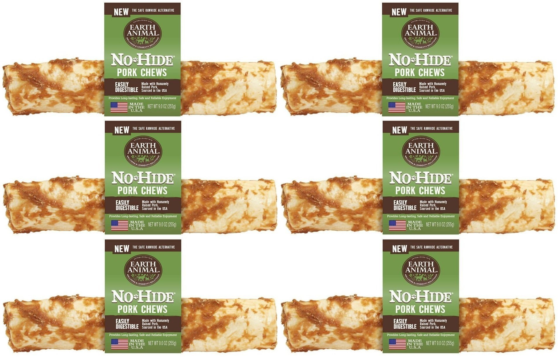 Earth Animal 6 Pack of No-Hide Pork Chews, 4-Inch