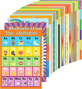 EAONE 22 Pack Educational Preschool Poster with 100 Pieces Glue Point Dot for Toddler Kids Classroom Kindergarten Nursery Learning Alphabet Multiplication ABC Days of the Week etc.(15.75 x 11 Inch)