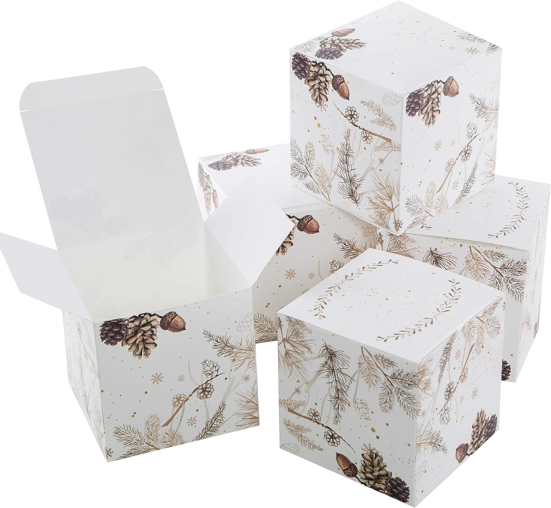 Logbuch-Verlag 5 kleine Geschenkboxen Weihnachten Natur Geschenkschachtel Verpackung wei/ß braun edel 10 x 10 cm Box Schachtel f/ür Weihnachtsgeschenk Kunde Mitarbeiter give-away