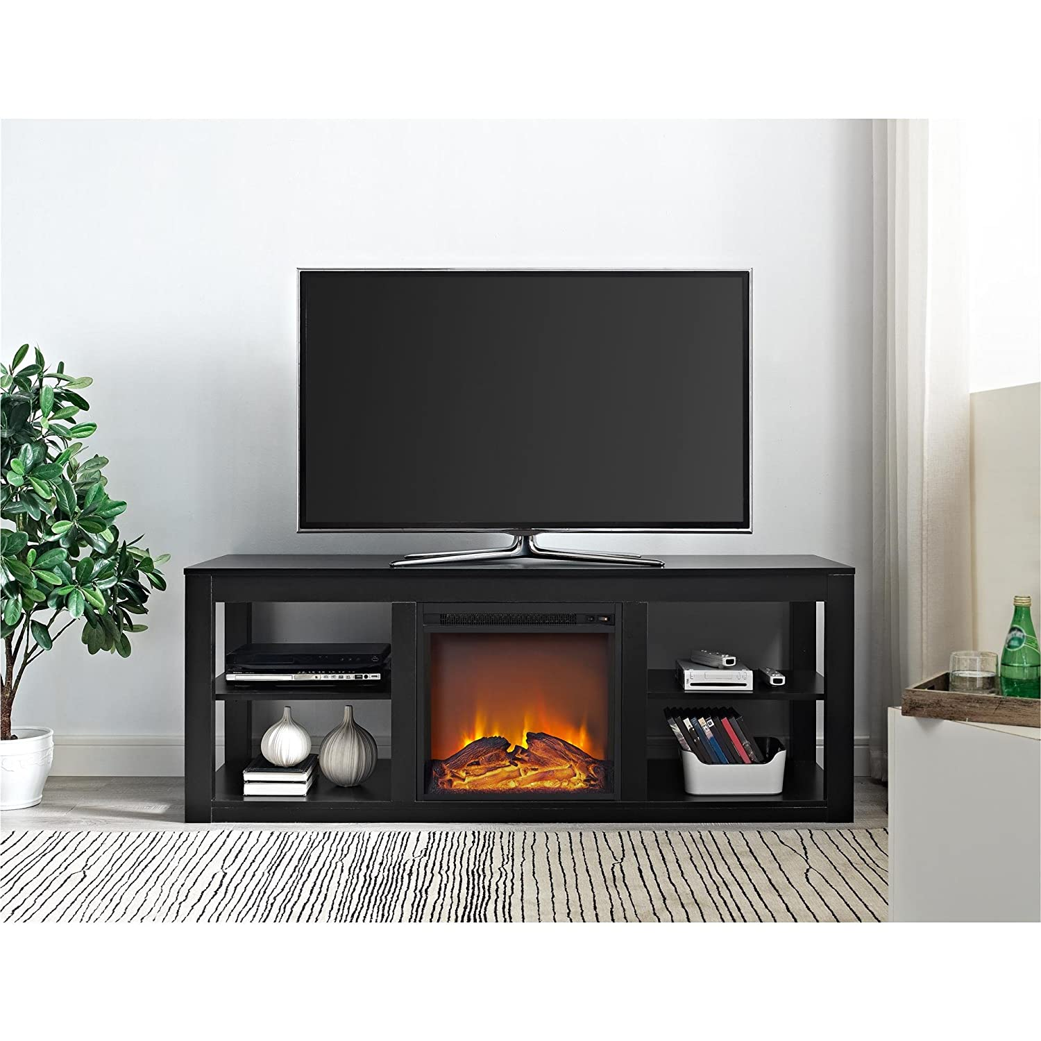 Amazon.com: Ameriwood Home Parsons Electric Fireplace TV Stand for ...