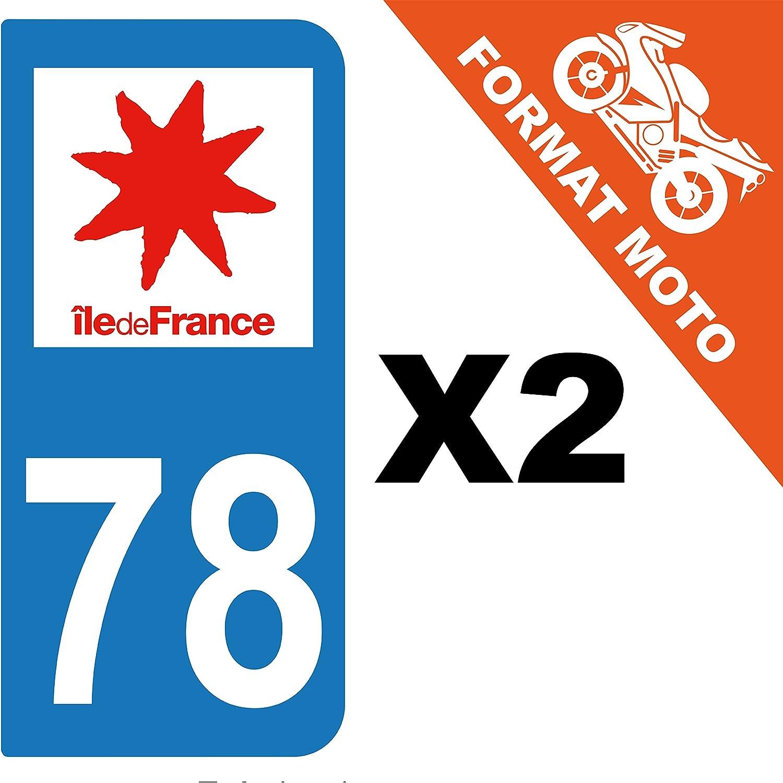 2 AUTOCOLLANTS PLAQUE IMMATRICULATION MOTO DEPT 78 REGION Île de France