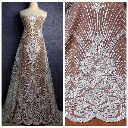 Wedding Dress Fabric.Amazon Com Heavy Handmde Beaded Bridal Fabric 51 Width Off White