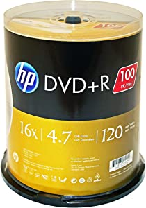 HP DR16100CB 4.7GB 16x DVD (100-ct Cake Box Spindle)