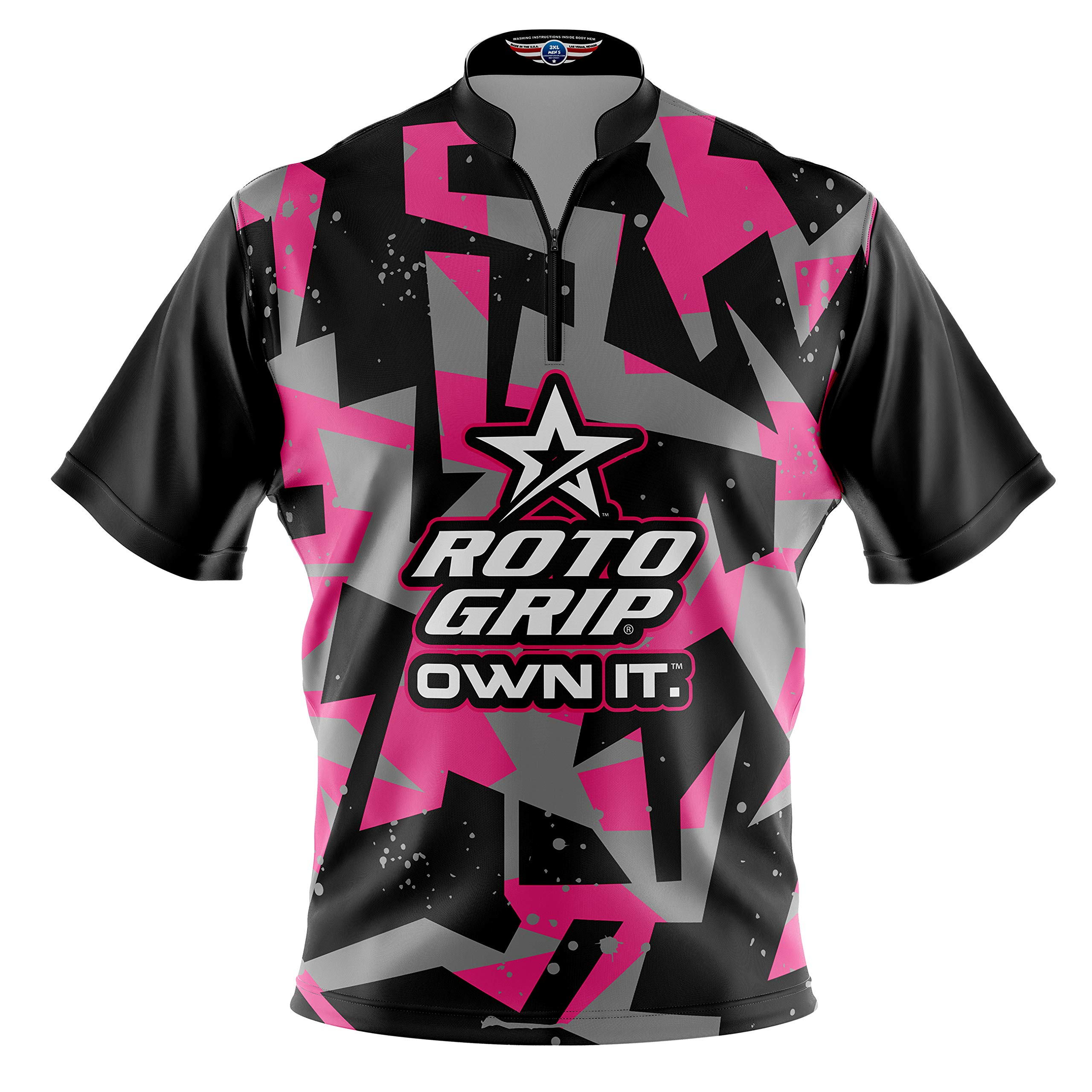 Logo Infusion Bowling Dye-Sublimated Jersey (Sash Collar) - Roto Grip Style 0362 - Sizes S-3XL (L) Pink by Logo Infusion