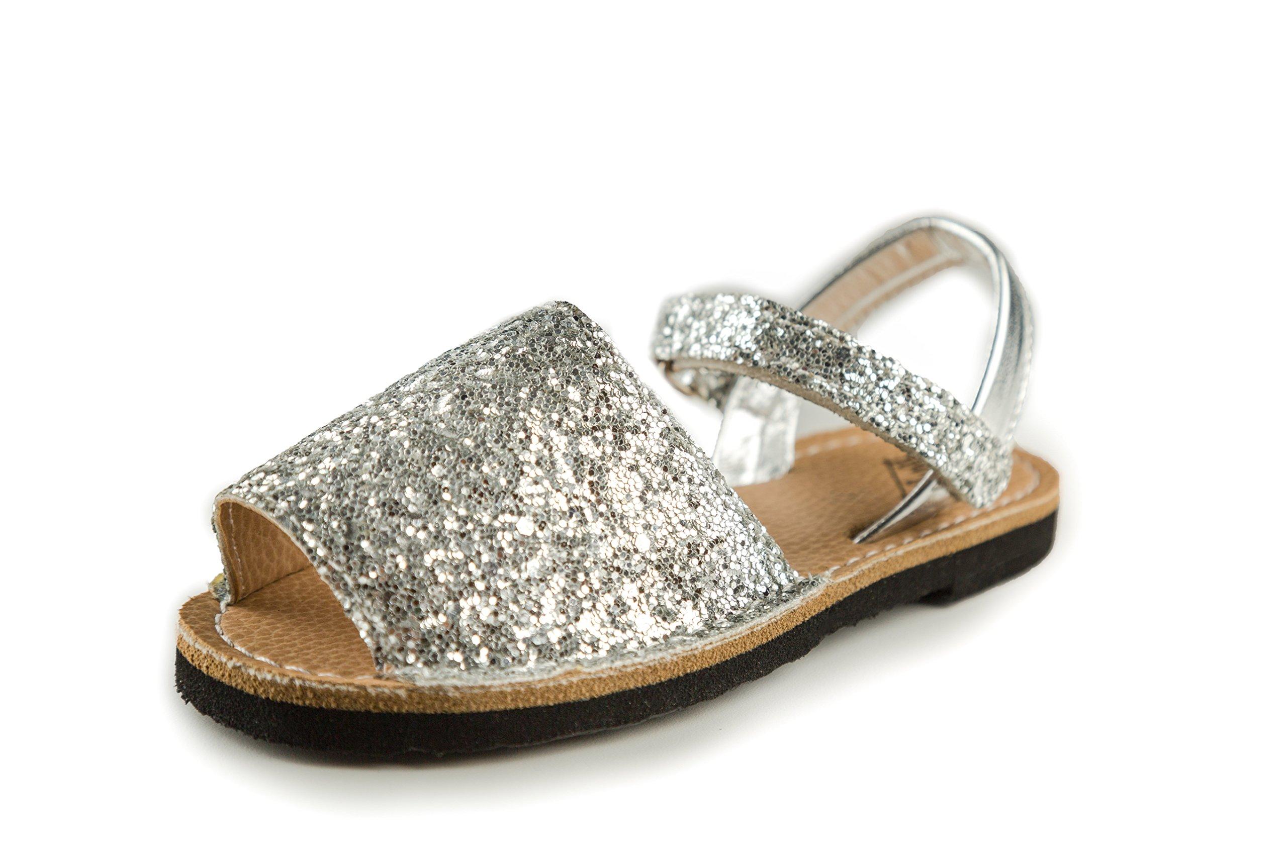 Subibaja Martina - Classic Menorquina Slingback Sandals for Girls Baby/Toddlers/Little Kids (11,5 M Little Kid, Chunky Glitter Silver)