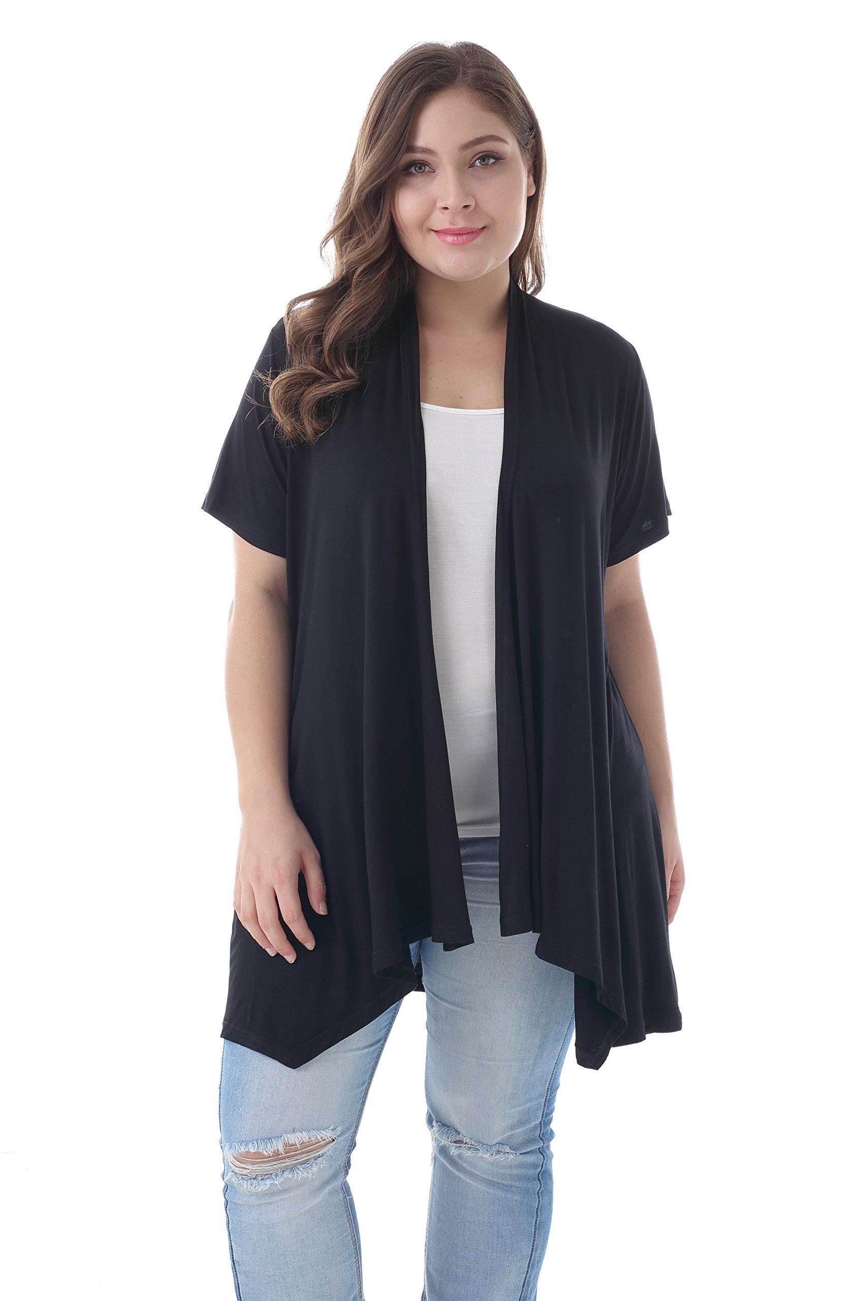 ZERDOCEAN Women's Plus Size Short Sleeve Asymetric Hem Open Front Lightweight Soft Printed Drape Cardigan Black 3X