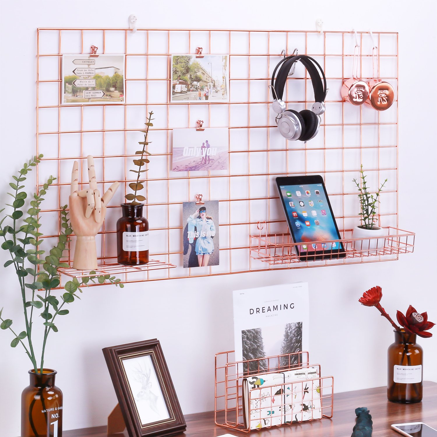 Zosenley Rose Gold Photo Hanging Display, Wall Grid Panel for Display Decoration & Storage, Size 37.8''x21.2''/Rose Gold/Copper