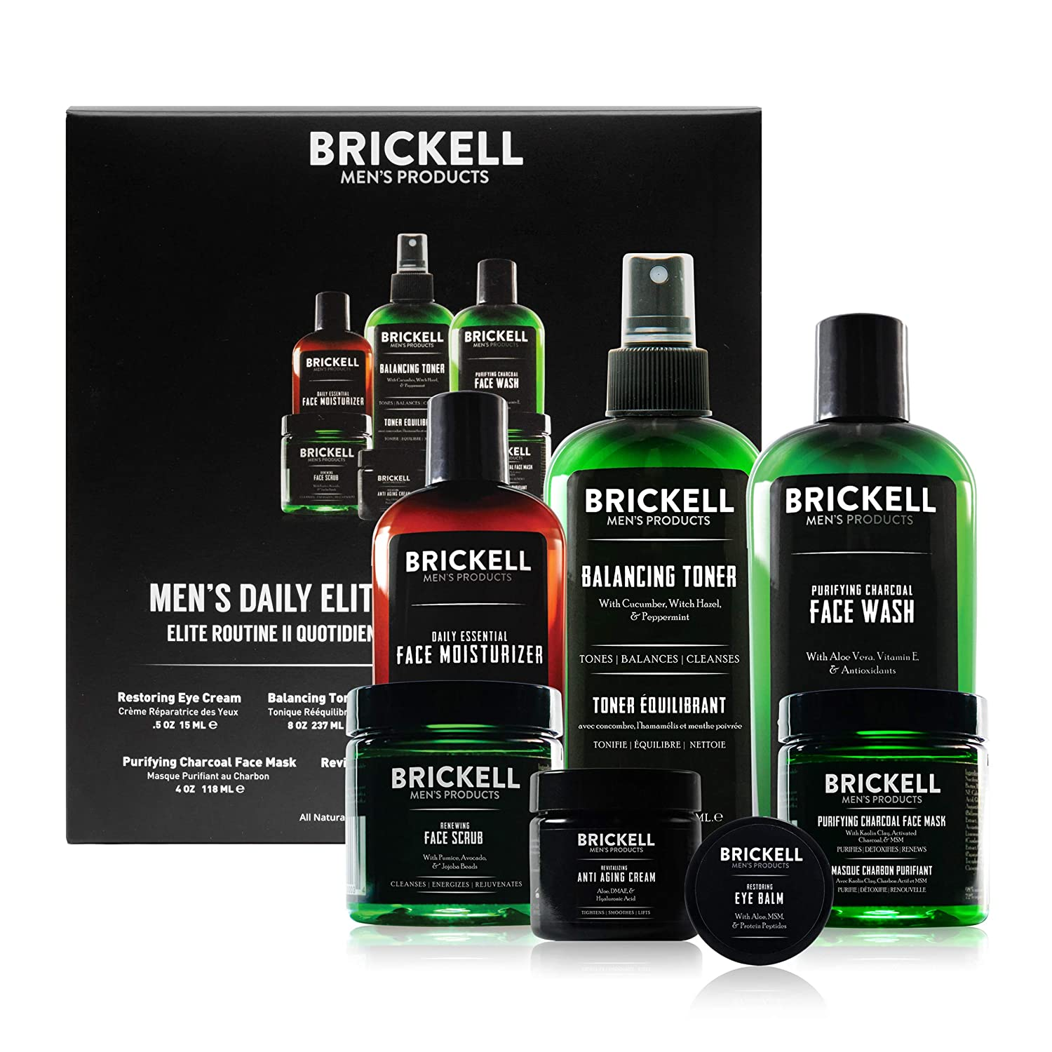 Brickell Men's Daily Elite Face Care Routine II, Toner, Charcoal Facial Wash, Face Scrub, Anti-Aging Night Cream, Eye Cream, Charcoal Mask and Moisturizer, Natural and Organic, Scented