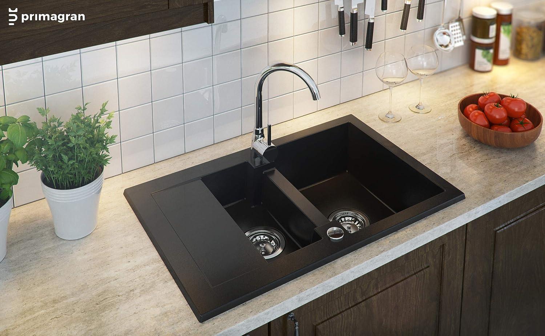 Primagran /Èvier de Cuisine en Granit Riga 1 Bac Encastrable Inculus Siphon Gain de Place et Trop-Plein