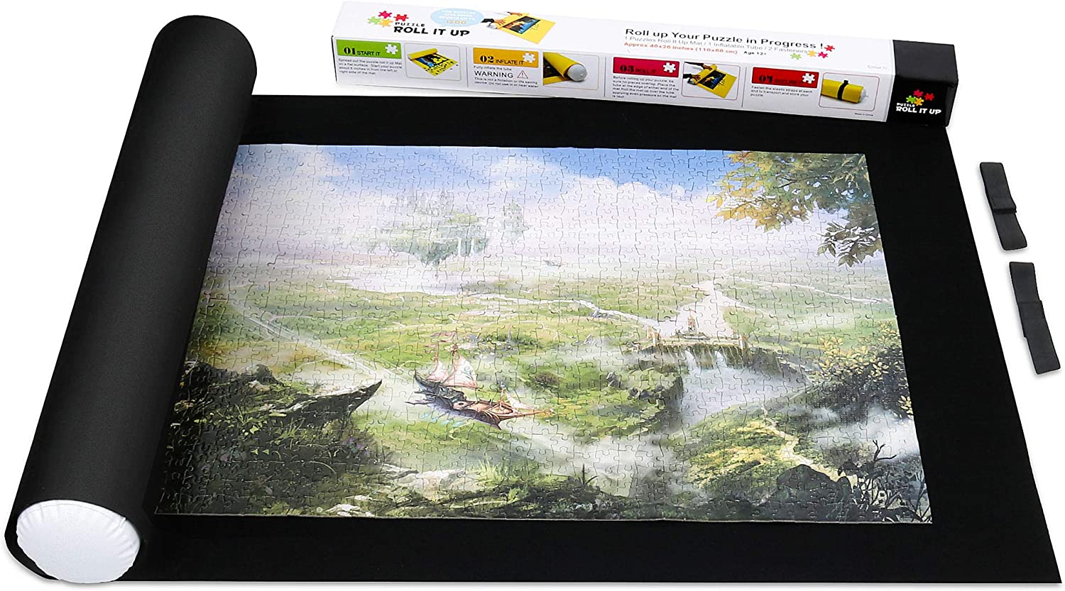 Black NorthKe Jigsaw Puzzle Roll Mat Black Gray Felt Mat Saver Up to 1,500 pcs for All Puzzle Storage Puzzle with Size Mark