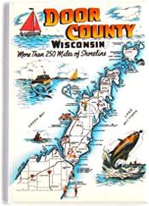 Greetings from Door County Wisconsin Fridge Magnet (2.5 x 3.5 inches) map style A