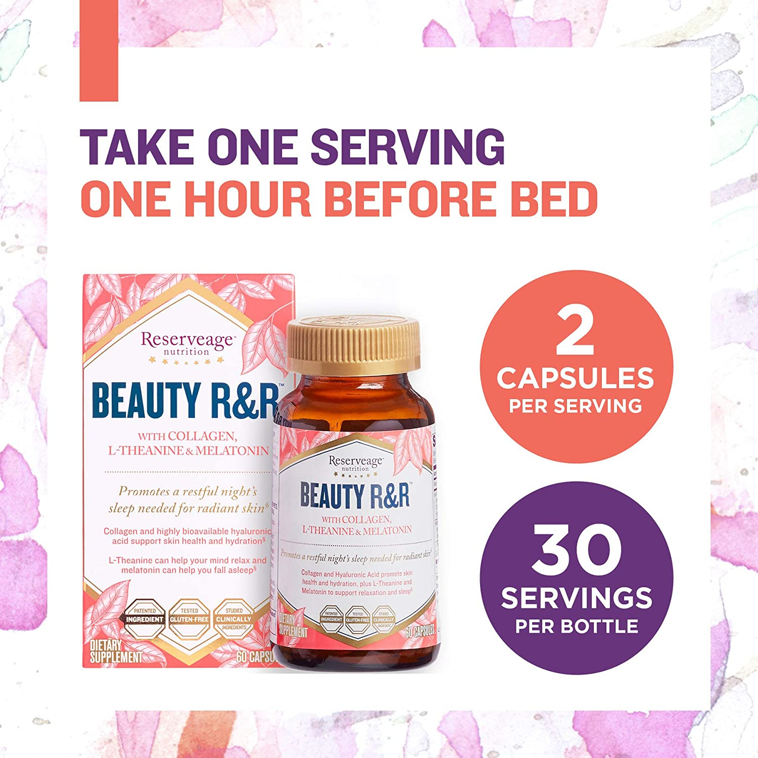 Amazon.com: Reserveage - Beauty R&R, Helps Relax the Mind for Restful Sleep and Supports Radiant, Firm and Youthful Skin with Collagen, Melatonin and ...