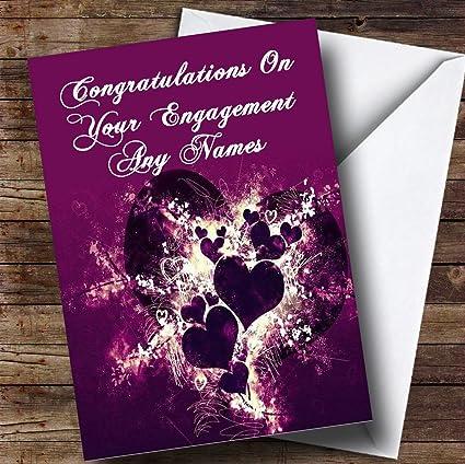 Amazon purple hearts and swirls romantic personalized purple hearts and swirls romantic personalized engagement greetings card m4hsunfo