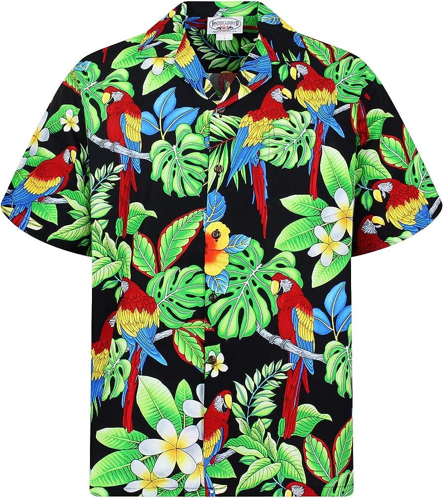P.L.A. Original Camisa Hawaiana, Parrot New, negro S: Amazon.es: Ropa y accesorios