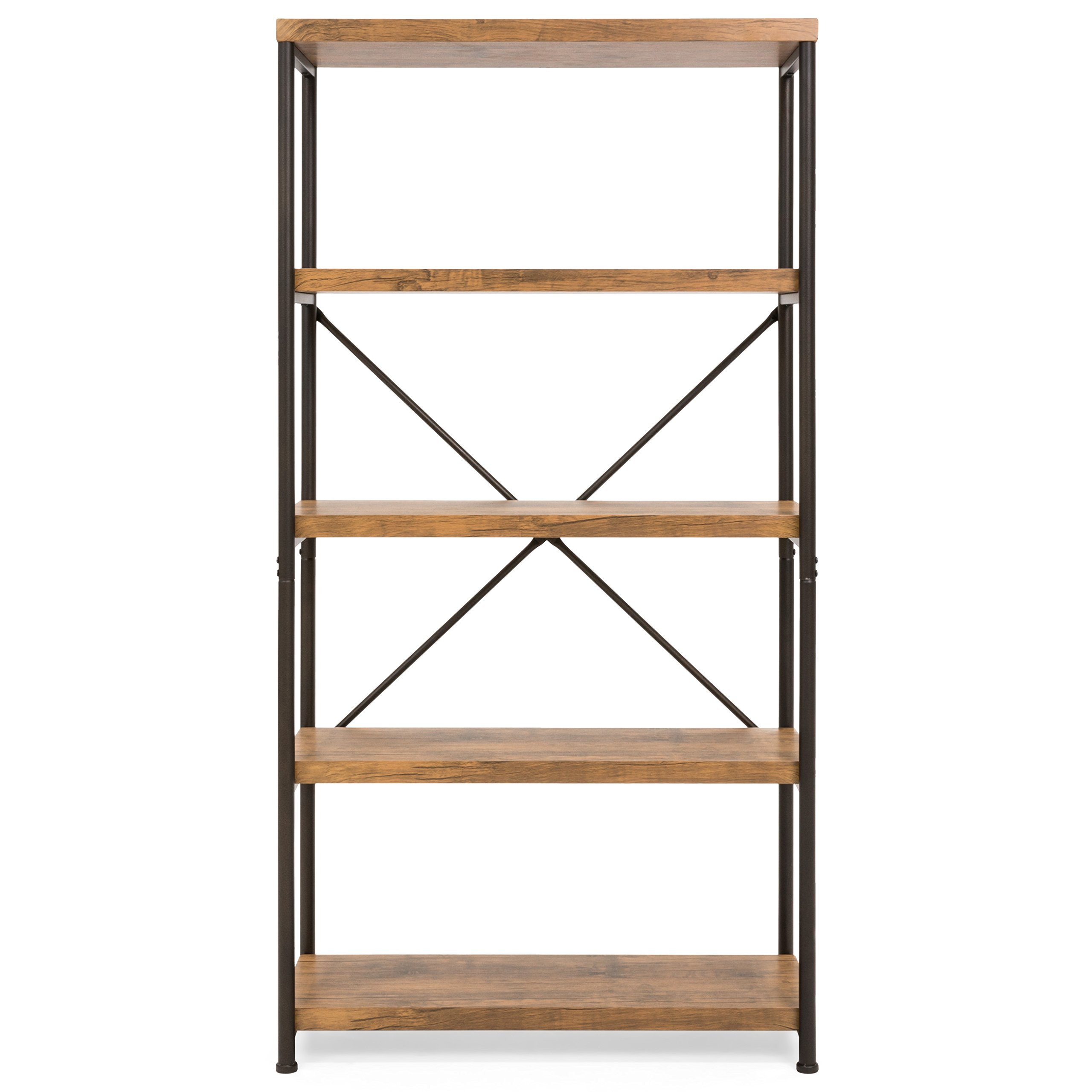 Best Choice Products 4-Tier Rustic Industrial Bookshelf Display Decor Accent w/Metal Frame, Wood Shelves - Brown by Best Choice Products (Image #4)