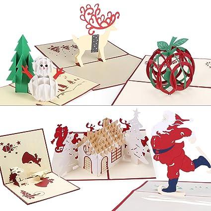 christmas cards 3d pop up handmade holiday greeting cards 6 cards envelopes - Art Christmas Cards