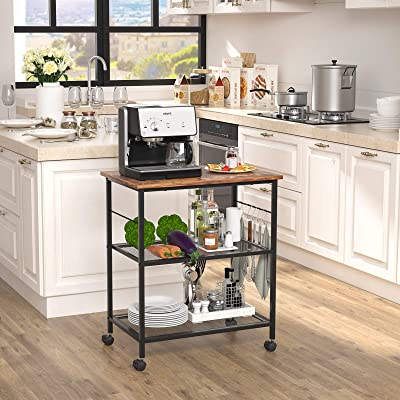 Buy Topfurny Kitchen Microwave Cart 3 Tier Baker S Rack Home Bar Serving Carts End Side Office Shelf Vintage Rolling Cart With Wheels And 5 Hooks For Kitchen Living Room Bedroom Furniture Online In Italy