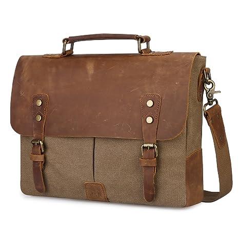 9cb398ffeea6 S-ZONE Leather Vintage Canvas Laptop Messenger Shoulder Bag 14.6(L) 11(H)  3.9(W) inches