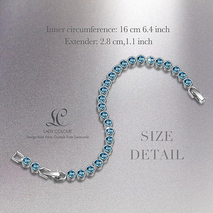 b6de18e9add5eb Amazon.com: LADY COLOUR Bracelet for Women Wife Birthday Aquamarine Blue  Tennis Bracelet Swarovski Crystals Jewelry for Her Girlfriend Girls Mom  Wedding ...