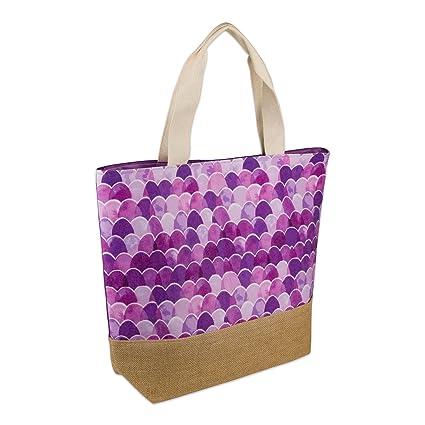 3999f854cea4 DII Mermaid Jute Beach Bag 17x20.5x5.5 Shoulder Travel Tote Purple, Mermaid  Jute Purple