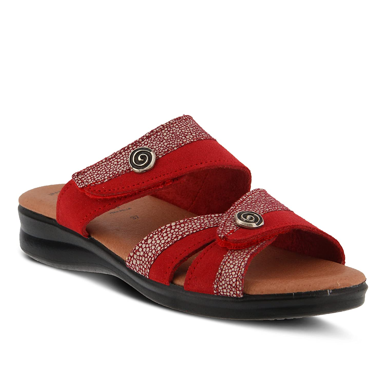 Flexus by Spring Step Women's Quasida Slide Sandal B079C49YY5 37 M EU (US 6.5-7 US)|Red/Multi