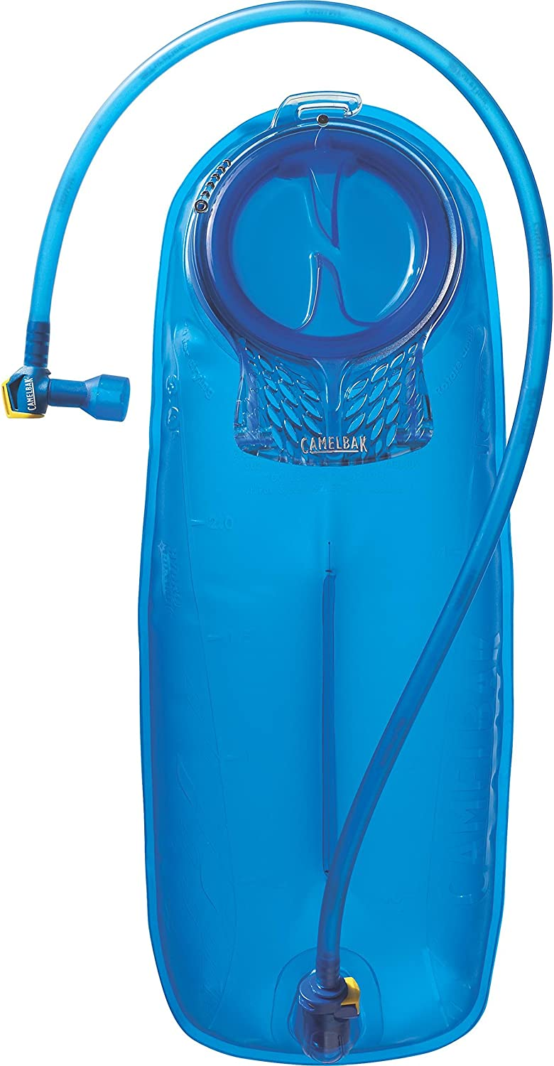 Image of a blue hydration bladder with hose wrapped around it