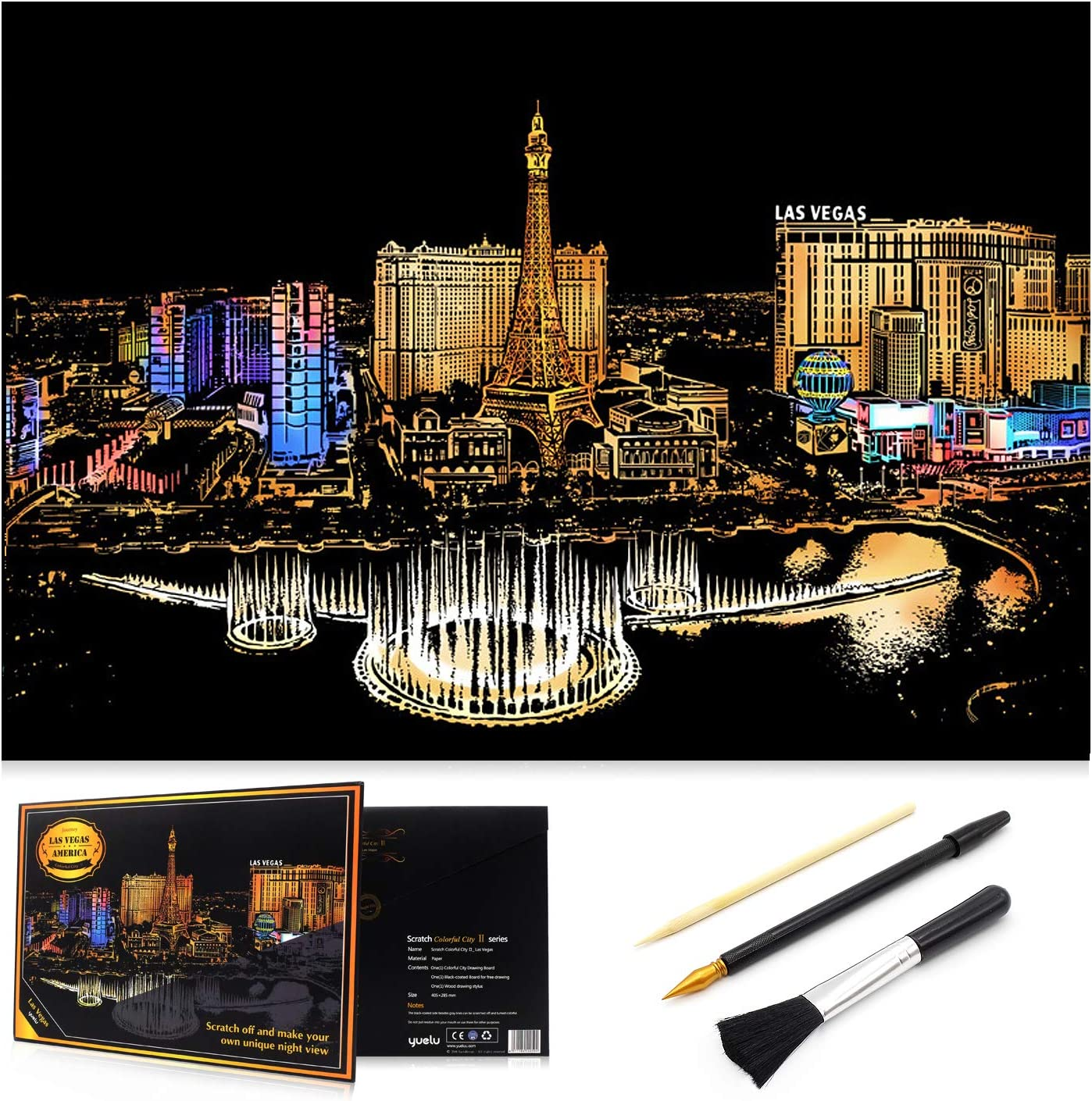 Dream Castle with 3 Tools Craft Art Set Sketch Pad DIY Night View Scratchboard Rainbow Scratch Art Painting Paper 16 x 11.2 Creative Gift MIASTAR Scratch Painting Kits for Adults /& Kids