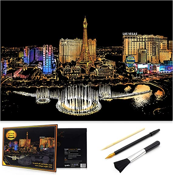 Castle - Amusement Park - Las Vegas - Sydney Opera House Sketch Night View DIY Scratchboard for Kids /& Adults 16 x 11.2 with 8 Tools Scratch Art Rainbow Painting Paper Engraving /& Craft Set