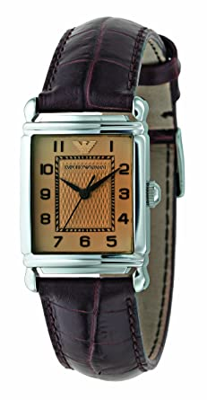 latest discount in stock new release Emporio Armani Ladies Brown Leather Strap Watch with Amber Dial